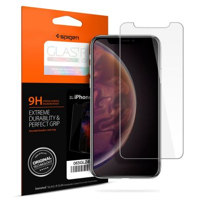 ฟิล์มกระจก SPIGEN iPhone XS Max Tempered Glass : Glas.tR Slim HD